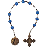 "SALE PENDING Fabulous Blue Glass ""Niner"" Chaplet – St. Anne & Madonna of the Chair Medal"