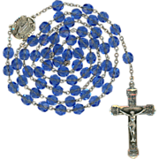 Sparkling Blue Cut Glass Rosary on Sterling – Miraculous Medal Center