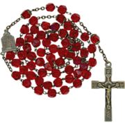 SOLD Lovely Cherry Red Glass Rosary – Capped Paters – Italy