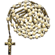 Early 1900s German Gilded Brass & Bone Antique Rosary – Coiled Extenders & Trinity C
