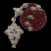Superb 19C Bavarian Filigree Rosenkranz – Enamel Crucifix & Credo Cross – Hallmarked Silve