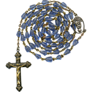 Gentle Marian Blue Molded Glass Bead Rosary – Jesus & Mary Center – 38 Grams