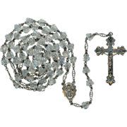 1950s Classic Gloria Sterling & Rock Crystal Rosary – Excellent Condition & Patina – 44 Gr
