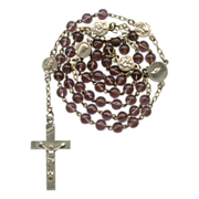 Petite Pale Grape Glass Rosary with Pater Medals