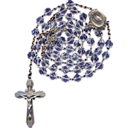 Sparkling Vintage Sterling & Box Cut Glass Rosary – 47 Grams