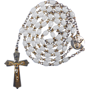 Gilded French & White Prosser Bead Rosary – Scapular Center Medal