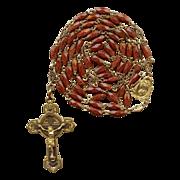 Brilliant Goldstone / Aventurine Glass & Gilded Brass Rosary – Fancy Spacers – Hallmarked