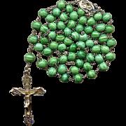 Gorgeous Sterling & Vermeil Rosary – Green Swirl Spun Glass Beads – Roma – Hallmarke