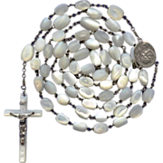 Long & Luxurious Sterling & Mother of Pearl Rosary – 60 Grams