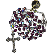 Vintage Malco Purple AB Glass Rosary – New with Tags – 47 Grams