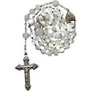 SOLD Superb Victorian Silver & Mother of Pearl Rosary – French Crab Hallmarks