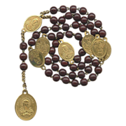 SOLD Soothing Antique Servite Seven Sorrows Rosary – Glowing Brass Medals