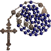 Delightful 800 Silver & Prosser Bead Rosary – Angel Ex Voto – Germany
