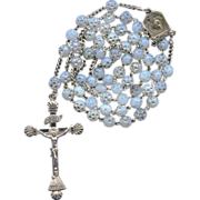 Rare Fine 935 Silver Mariazell Crucifix on Dimpled Opalescent & Silver Bead Rosary – Uni