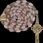 Graceful Saphiret & Gilded Brass Rosary – Jesuit Monogram Center – Crown of Thorns Crucifi