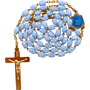 Blue Satin Glass Rosary with Enamel Center – French NOS