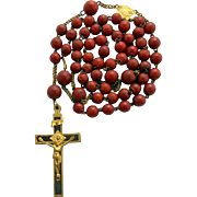 Wonderful circa 1900 Composite & Gilded Rosary – Mariazell Pilgrimage Center – 45 Grams