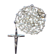 Bold Vintage Creed Sterling Mother of Pearl Rosary – 44 Grams