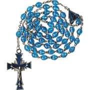Modernist Teal Glass & Guilloche Enamel Rosary – Italy – 40 Grams