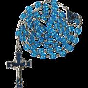 Modernist Teal Glass & Guilloche Enamel Rosary – Italy – 40 Grams