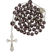 Outstanding Venetian Dot Glass & Silver Victorian Rosary – 52 Grams