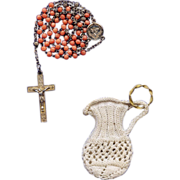 Rare French First Communion Rosary in Coral & Gold Vermeil – Engravable with Crocheted Ring