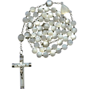 "Large ""First Communion"" Mother of Pearl & French Silver Rosary – 59 Grams"