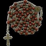 Rare 19C Bois Durci & Steel Victorian Rosary – Souvenir de Mission