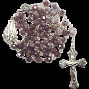 Serene Sterling & Mauve Glass & Lampwork Rosary – 56 Feminine Grams