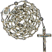 """SOLD Scarce Vintage Creed Sterling Glass Pearl """"Wedding Bell"""" Rosary – 47 Grams"""