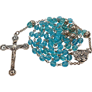 SOLD Stunning Aquamarine Glass & Sterling Rosary – Floral Crucifix & Bead Caps