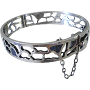 SALE Mid-century MIGUEL MELENDEZ Mexican Modernist Sterling Silver Hinged SPIDER WEB BANGLE ..