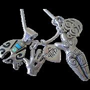 UNIQUE Vintage Artisanal Sterling Silver Gemstone Multi Amulet Empowerment Fetish CHARM ...
