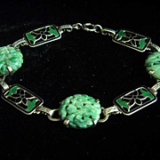 SALE Fabulous sterling silver bracelet with vintage carved jadeite jade and enamel panels by .