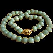 "SALE VERY RARE - MING'S MINGS 14K Large Jadeite Jade Bead Necklace 25"" 160.9 g"