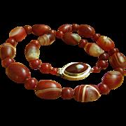 "SALE Fabulous Vintage Chinese Tibet Agate Stripe Dzi Bead Carnelian Necklace 31"""