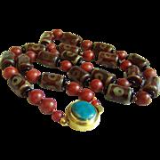 "SALE Fabulous Vintage Chinese Tibet Agate Dzi Bead Carnelian Turquoise Necklace 35"""