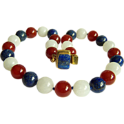 SALE Amazing estate vintage large white jade blue lapis lazuli red carnalian bead necklace 22