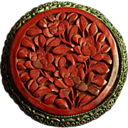 "SALE Circa 1930s Chinese export large carved cinnabar brooch pin 2 x 2""  19.4 ..."