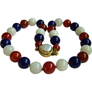 SALE Amazing Estate Red Carnelian Agate, Blue Lapis Lazuli, White Jade Bead Necklace 20""