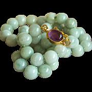 SALE Amazing Estate Light Green Jadeite Jade Sterling Silver Amethyst Cabochon Clasp Necklace