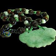 SALE ONE OF A KIND - Vintage Chinese Jadeite Jade Lock Pendant with Jade & Carved Wood ...