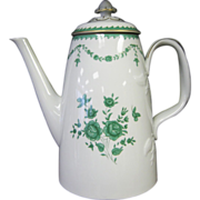 SALE Beautiful Vista Alegre Green Flowers Roses Coffee Pot - Portugal