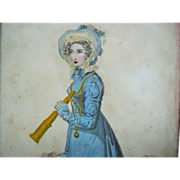 Early Litho Ca. 1823  Fashion Print - Marine Walking Dress w/ Telescope