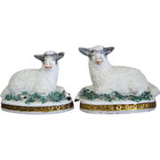 Tiny Pair Of Recumbent Mantel Sheep / Lambs For Dollhouse