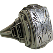 1956 Sterling Silver & Black Enamel Ring