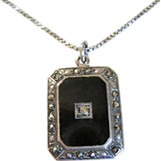 SALE Art Deco Sterling Onyx & Marcasite Necklace W/ Hidden Madonna