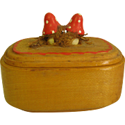 REDUCED Miniature Wood Box w/ Tiny Carved Mushrooms For Doll House