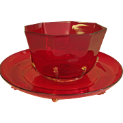 REDUCED Beautiful Ruby Red Glass Finger Bowl & Underplate W/ Gold Flecked Prunts