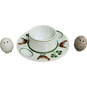 Porcelain Chicken Egg Cup With Individual Egg Salt & Pepper Shakers
